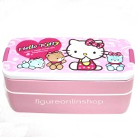 LUNCH BOX SUSUN 2 + SENDOK HELLO KITTY (BPA FREE)