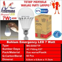 bohlam pegang nyala led emergency 7 watt/ bohlam a