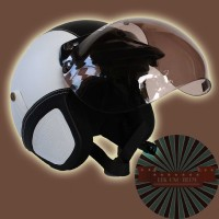 Helm Retro Bogo White-Black Putih Hitam + Kaca Bogo asli