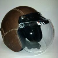 Helm Retro Bogo Brown Solid Coklat Polos + Kaca Bogo asli