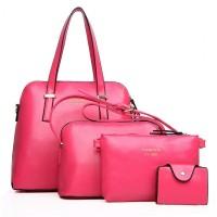 tas bahu pundak besar wanita impor pink rose 3 in 1 3in1 pcs set murah