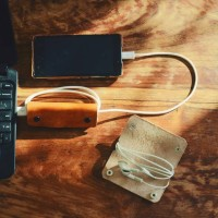 Leather Headset / Earbud / Cabel Data organizer ( Cabel Clip )