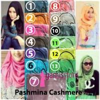 JUAL Pashmina Cashmere (Kashmir) Polos Grosir Hijab