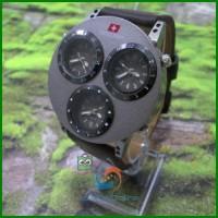 harga jam Tangan Swiss Army Triple Time Unik Kulit Pria Hitam-rolex casio Tokopedia.com