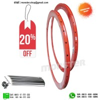 PAKET PROMO Rims Origin8 700c 42mm 32Hole Rear+Front+Spoke Red