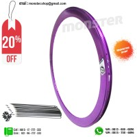 PAKET PROMO Rims Origin8 700c 42mm 32Hole Rear+Front+Spoke Purple