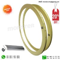 PAKET PROMO Rims H+Son 42Eero 32H 700c Rear+Front+Spoke Yellow