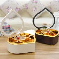 kotak musik hati love balerina rotate shape heart jewelry box
