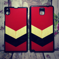 Chevron Maroon On Sony Xperia Z1 & Samsung Note 3 Hardcase Black
