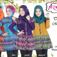 Blouse Wanita Muslimah Terkini Florania Tunik Minata Motif Printing