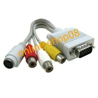 Kabel VGA (rgb) to 3 RCA Audio Video female + 1 s-video 4 pin HQ