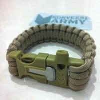 Jual Gelang survival kit paracord pluit, korek, dan tali