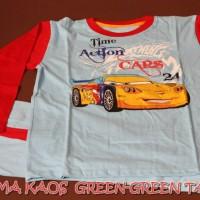 Piyama Kaos Anak Green-Green Motif Cars Size 14,16,18