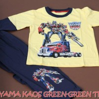 Piyama Kaos Anak Green-Green Motif Transformers Tipe A Size 4,5,6
