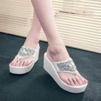 harga White Silver Wedges Sandal Putih Fashion Wanita Tokopedia.com