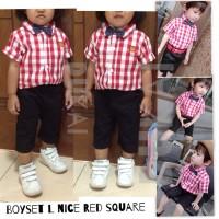 Boyset red Square L Nice 1-6Y anak bayi baby boy setelan