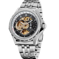 Ouyawei Skeleton Stainless Steel Automatic Mechanical Watch