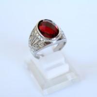 Cincin Batu Akik Pria Zircon Merah Titanium Silver 2 - Ekspor