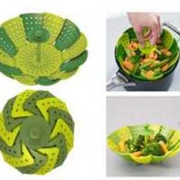 Steamer Basket Peralatan Dapur Unik Alat Kukus Sayur Silikon