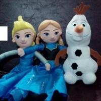 Boneka frozen paket 3 isi elsa anna olaf lucu murah lagu let it go