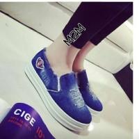 harga Sandal Sepatu Slip On Wanita Cantik Denim Tokopedia.com