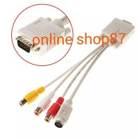 KABEL VGA TO 3 RCA FEMALE + S VIDEO HIGH QUALITY