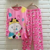 Baju Tidur Setelan Lengan Panjang - Piyama Sleepwear Lucu - Pink Moo