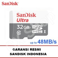 Jual SanDisk Ultra microsd 32GB 48MB/s - no adapter - micro sd Class 10 Murah