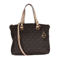 MICHAEL KORS JET SET MULTIFUNCTION LOGO PVC TOTE BROWN