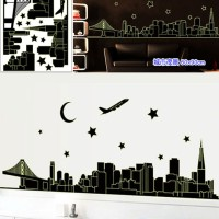 wall sticker/wall stiker trans 60x90-ABQ9601-glow night city