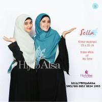 Jilbab Segi Empat Bolak Balik Hijab Alsa 016 Broken White & Abu Toska
