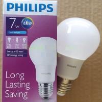 Bohlam LED PHILIPS LAMP 7 WATT . Hemat energi, Lifetime sampai 15 Tahun, Cahaya Terang Sejuk Adem. Lampu Bulb 7W Super Long Life