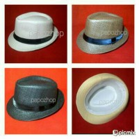 Topi fedora coboy jerami polos dewasa pria wanita Straw Hats Import