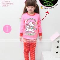 Baju Tidur Piyama Kitty Glow In The Dark Anak Perempuan Gw-133i