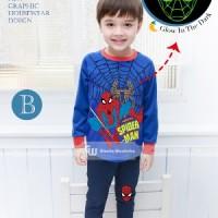 Baju Tidur Piyama Spiderman Glow In The Dark Anak Laki-laki Gw-133b