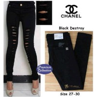 harga Chanel Destroy Full Black | Ripped | Jeans Washed Stretch Tokopedia.com