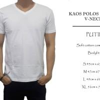 kaos polos cowok bodyfit putih v-neck