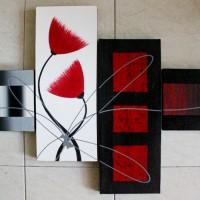 Lukisan Bunga Minimalis Merah