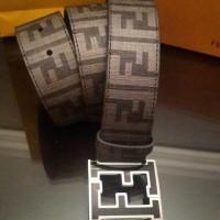 FENDI FF Zucca College Belt in Grey/Black Buckle REAL 1:1 BEST Quality