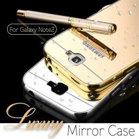 Samsung Galaxy Note 2 Metal Bumper Mirror Slide Back Cover Casing Case