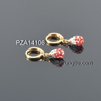 Anting emas bola tear motif merah PZA14108