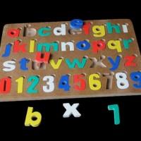 Jual Mainan Edukatif/Edukasi Anak - Puzzle Alphabet Angka Cat Huruf Kecil Murah