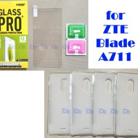 Paket ZTE Blade A711 Softcase ( Case / Casing ) + Tempered Glass