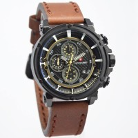 Jam Tangan Pria / Cowok Swiss Army Chronograph Leather Dark Brown