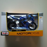 YAMAHA YZF R1 Blue 1/12 Maisto Racing Motor Bike Biru Striping White