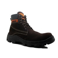 SEPATU SAFETY !! Cut Engineer Iron Safety Boots Suede Cokelat Tua