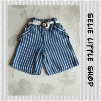 Celana Jeans Anak + Belt (Model Kulot 7/8, Motif Salur)