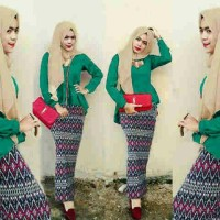 Jual Hijab Peplum Tribal Toska Set 3in1 Murah