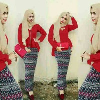 Jual Hijab Peplum Tribal Red Set 3in1 Murah
