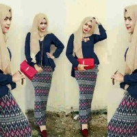 Jual Hijab Peplum Tribal Navy Set 3in1 Murah